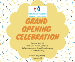 Open House Week for Community Partners Federal Credit Union @ Community Partners Federal Credit Union | Newton | Mississippi | United States