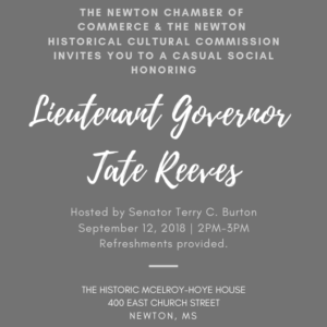 Social Hour with Lit. Gov. Tate Reeves @ The McElroy-Hoye House | Newton | Mississippi | United States
